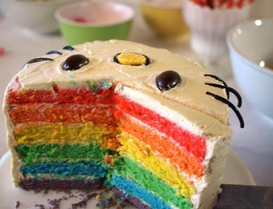 hello kitty rainbow cake. seriously.