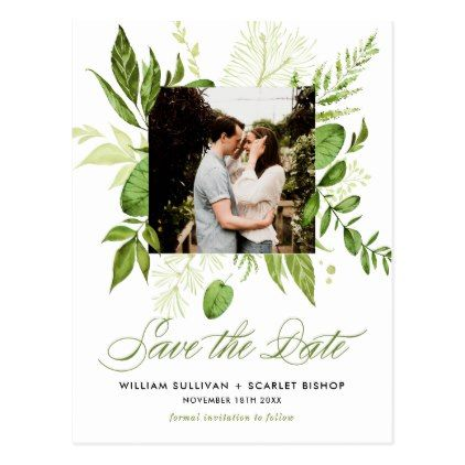Watercolor Wild Green Foliage Photo Save the Date Postcard - script - Sample Address Book Template