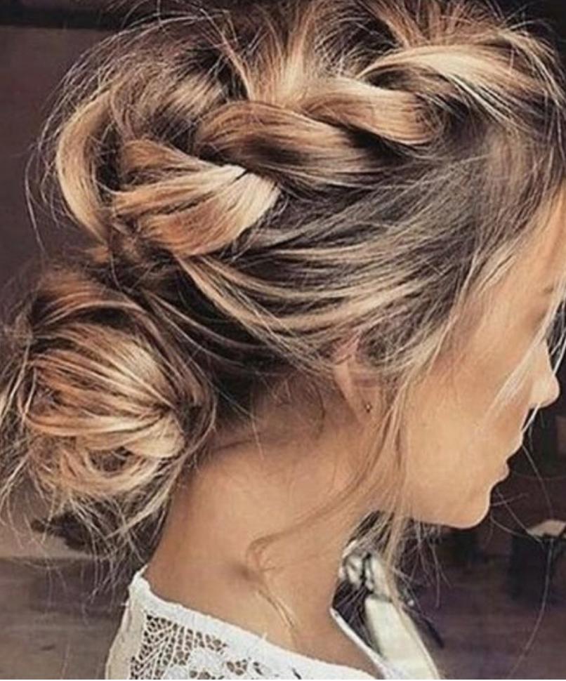 Pulled French Braids Into Bun Long Hair Ideas Bridesmaid Hair Ideas Hair Styles Easy Wedding Guest Hairstyles Medium Hair Styles