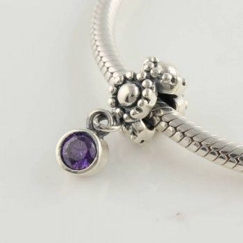 Sterling Silver Pendant Purplr Crystal Charm - Pendant Charms - Charms - LYDIA JEWELLERY
