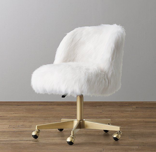 Alessa Kashmir Faux Fur Desk Chair Antiqued Brass Girls Desk Chair White Desk Chair Cute Desk Chair