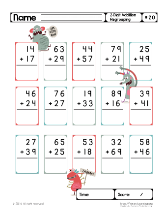 Two Digit Addition (Regrouping) #20 | Addition with ...