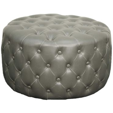 Sensational Lulu Round Bonded Leather Tufted Ottoman Vintage Gray Squirreltailoven Fun Painted Chair Ideas Images Squirreltailovenorg