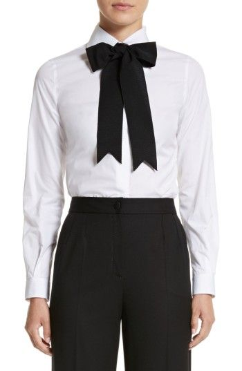 a05d8c14ad47b9 Dolce&Gabbana Cotton Poplin Blouse with Bow A big grosgrain bow adds  playful embellishment to the collar of this crisp, beautifully tailored  stretch-cotton ...