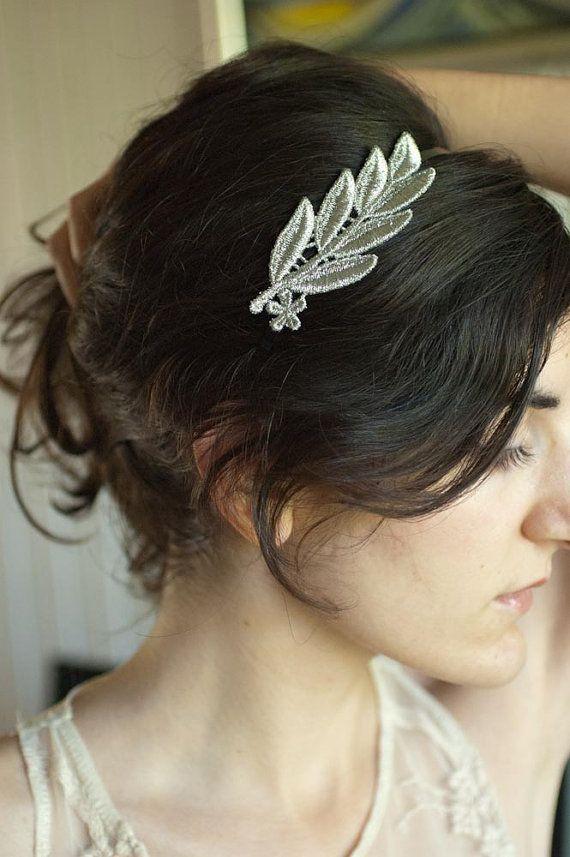 Headband Greek Silver Leaves Grecian Wreath Inspired Headpiece The Roaring Twenties Bridal Hair Accessories Head Band