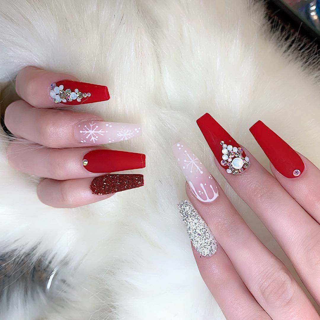 Ann Do On Instagram Do U Ready For Christmas Nails Nailsandbeautylounge Brandon Glitt Winter Nails Acrylic Chistmas Nails Coffin Nails Designs
