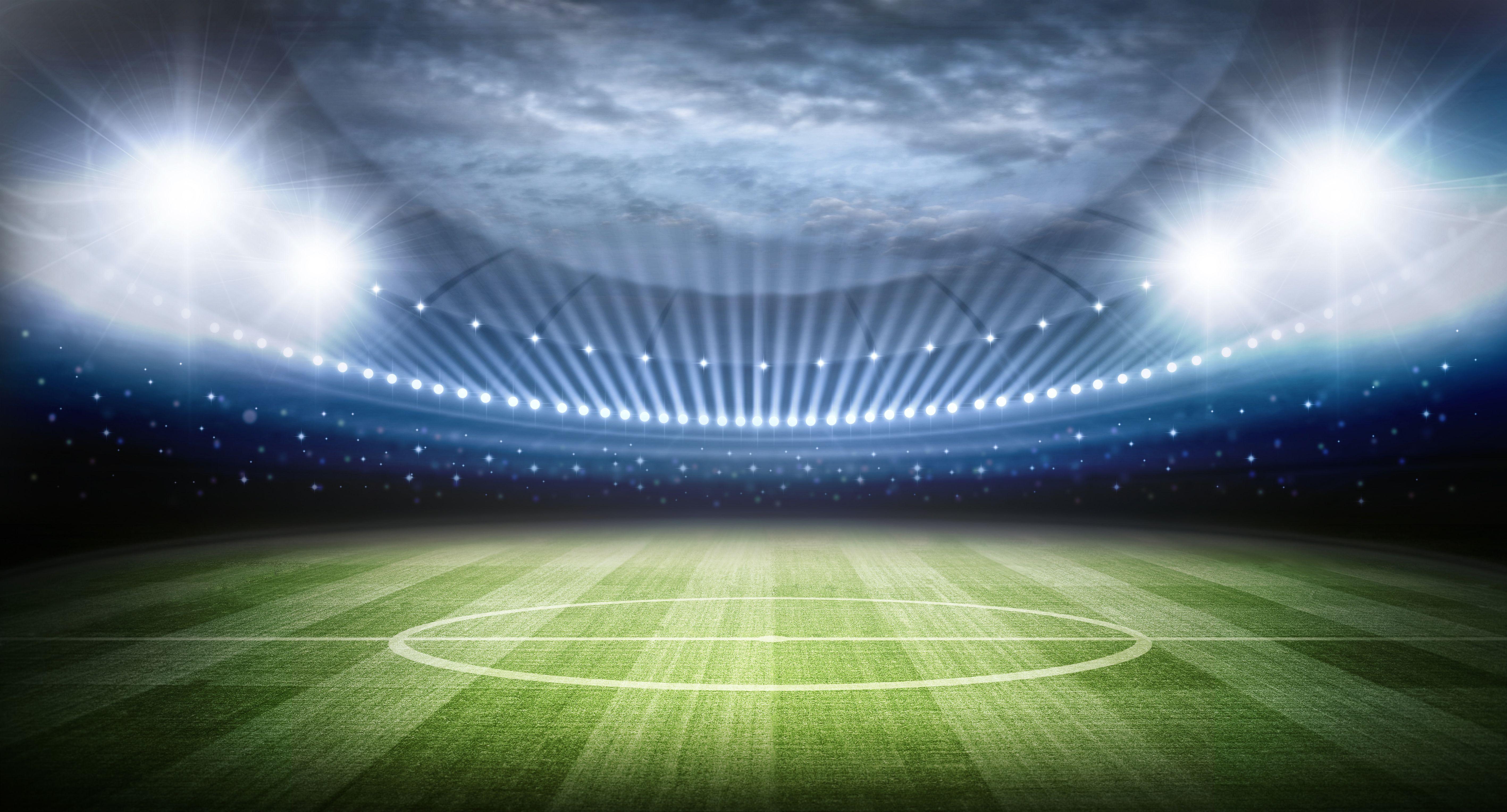 Open Air Football Stadium Lights Shining Air Football Football Stadiums Stadium Lighting