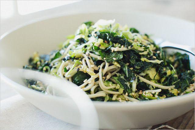 Truffled Delights: Kale, Brussels Sprout & Soba Noodle Salad