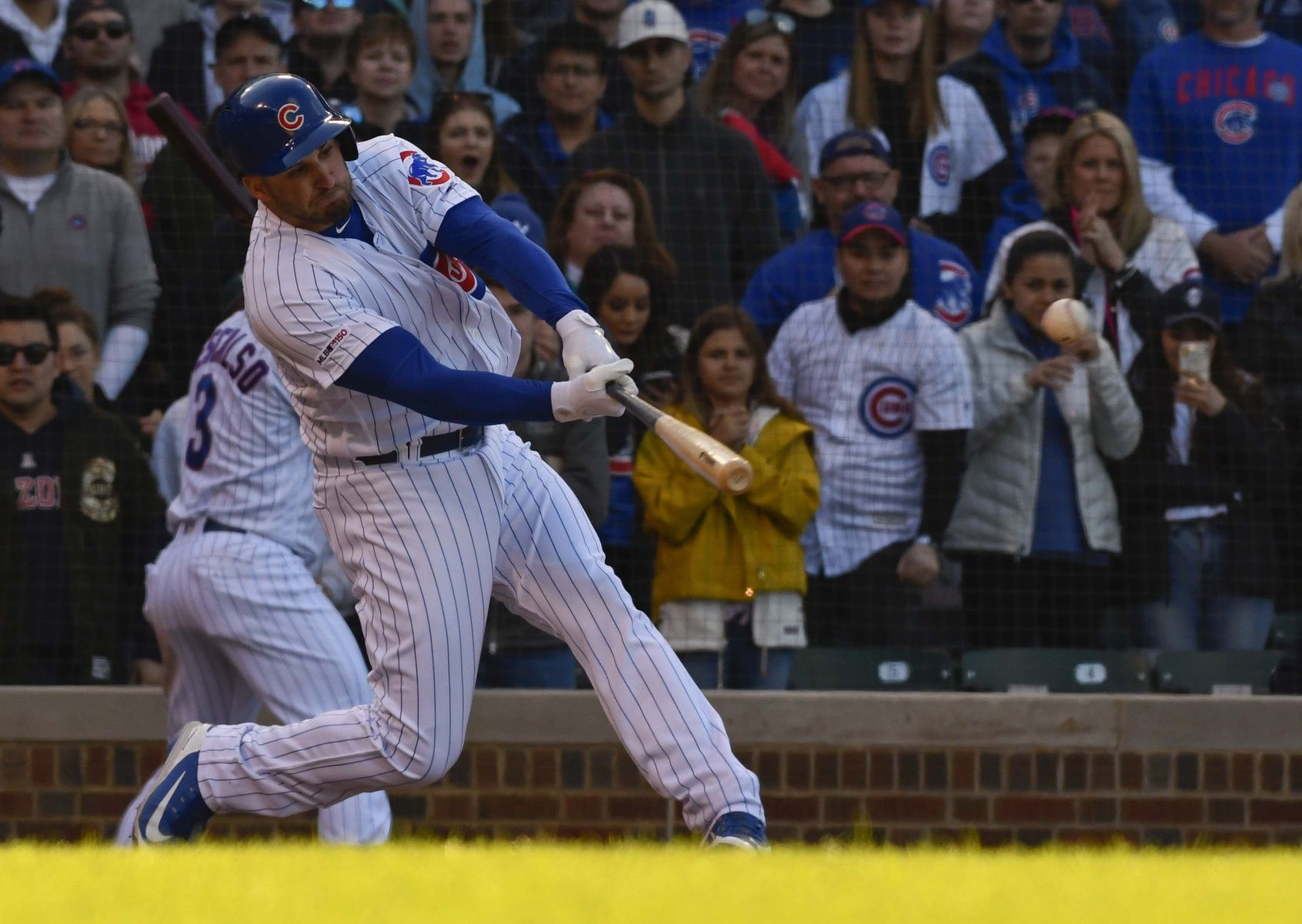 Love seeing the way the Cubs player has the ball flying