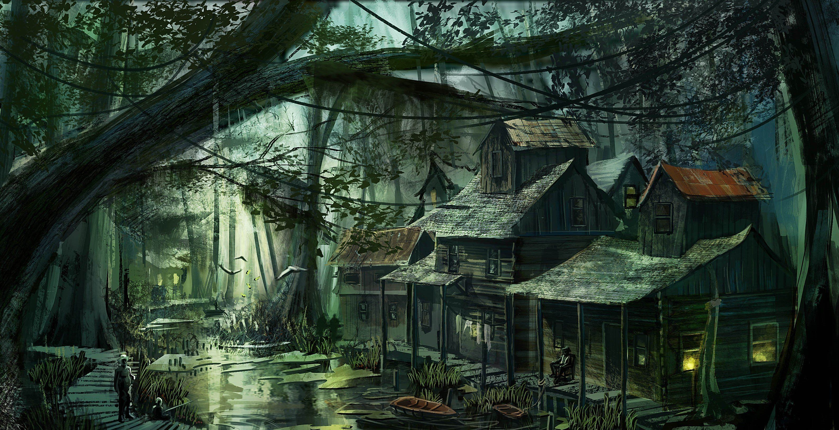 Artwork swamp villages swamp scenes fantasy landscape - Art village wallpaper ...