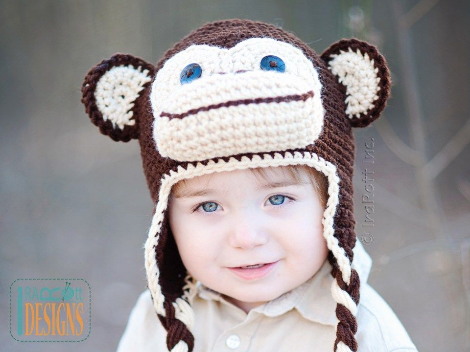 PDF Crochet Pattern for making a cute Chimpanzee Monkey Hat for all ...
