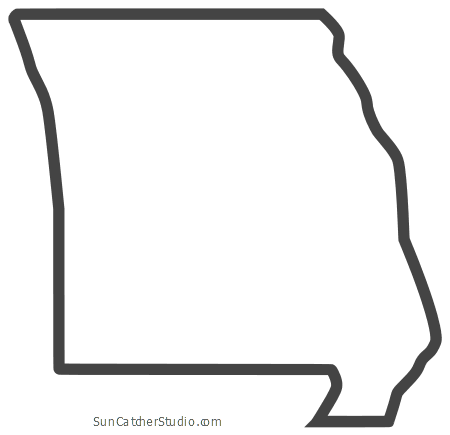 Missouri Map Outline Printable State Shape Stencil Pattern Map Outline Educational Wall Art Pattern