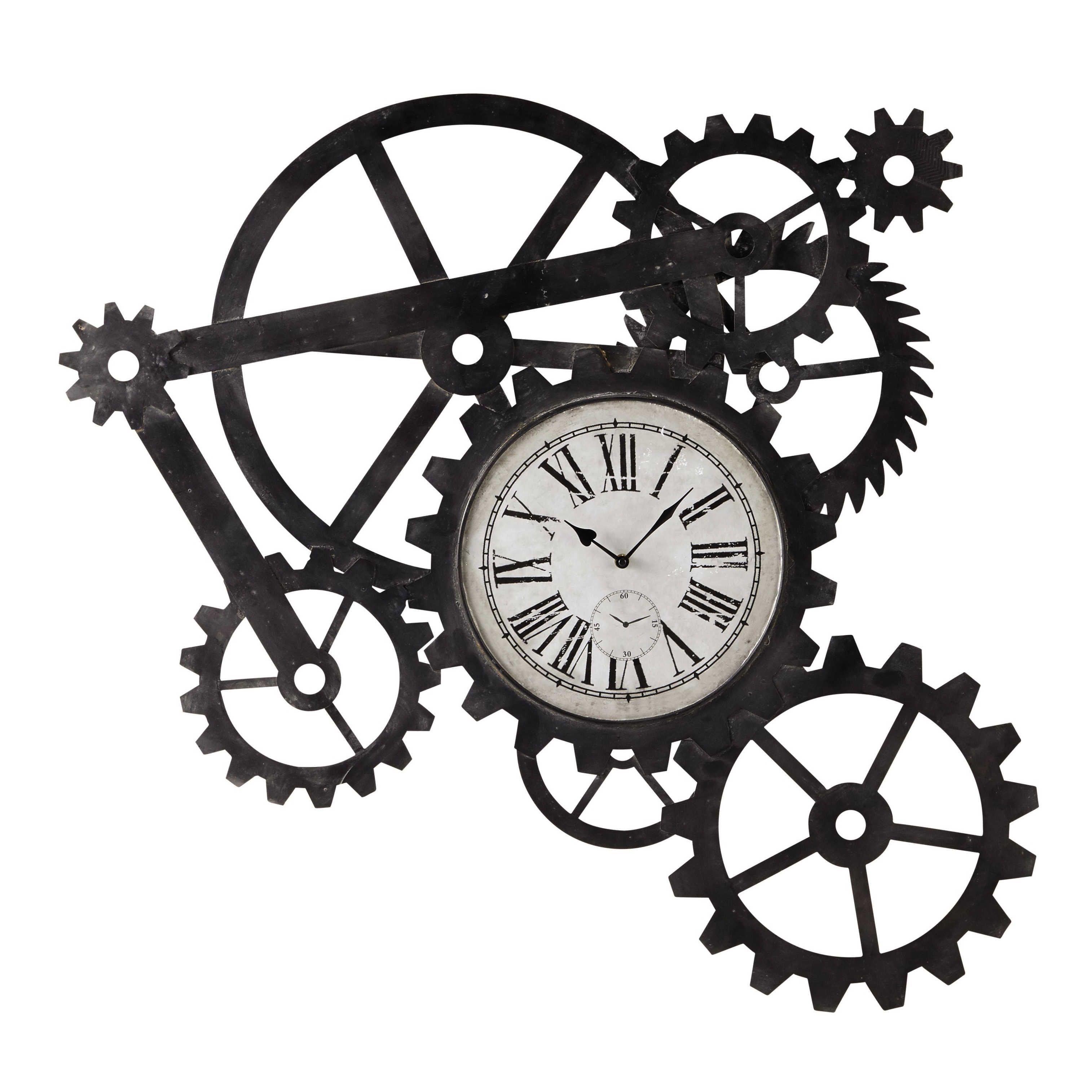 horloge indus en métal l 86 cm engrenage