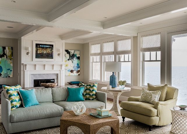 Transitional Living Room With Coastal Vibe And Blue: Coastal Living Room. Transitional Coastal Living Room With