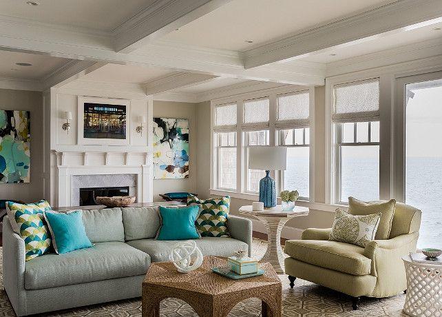Coastal Living Room. Transitional Coastal Living Room With Ocean View. Coastal  Living Room Paint Color Ideas. #LivingRoom #Coastal #BeachHouse #Paiu2026