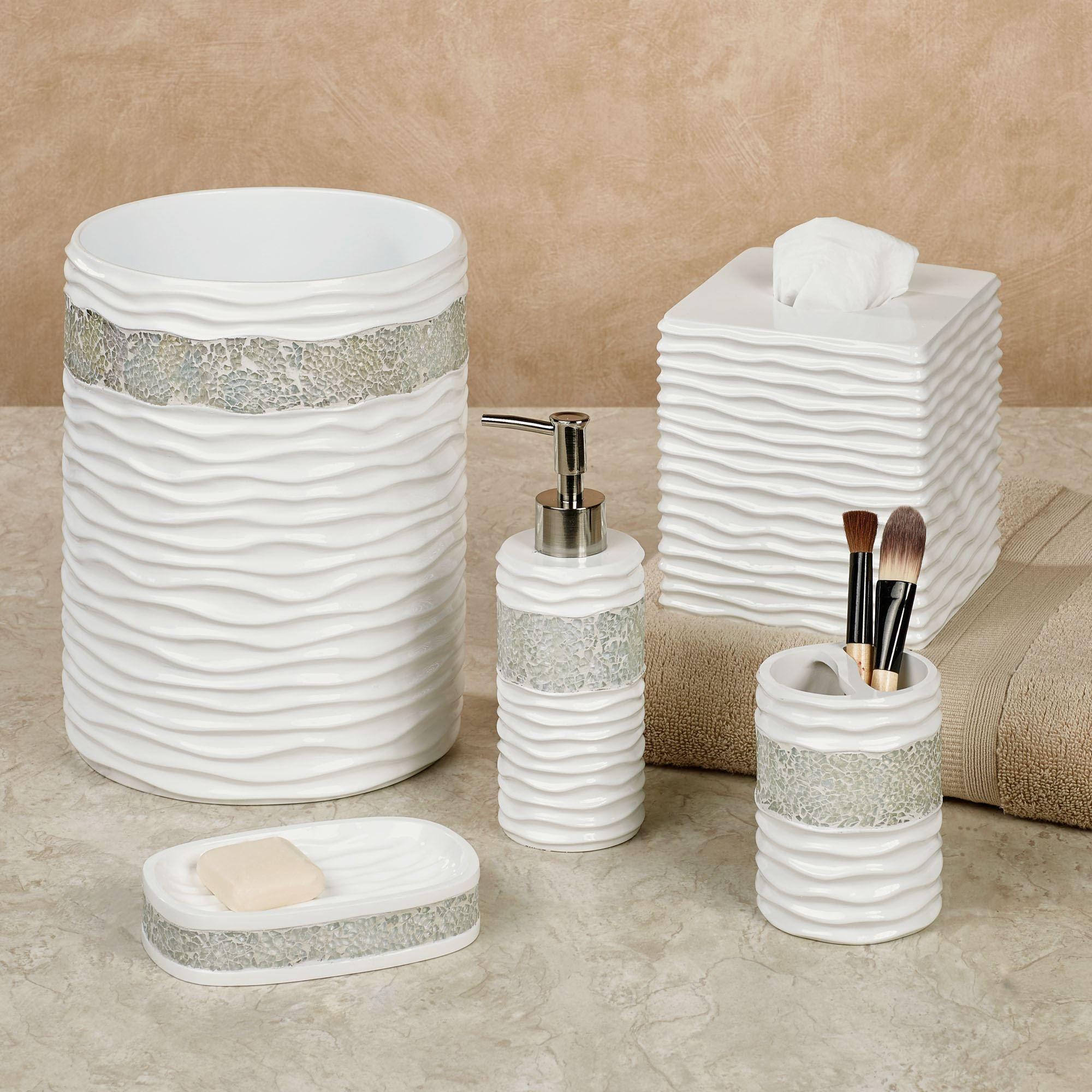 Wave Mosaic White Bath Accessories Bath Accessories White Bath