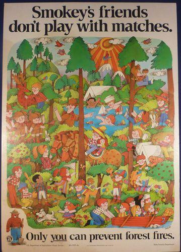 Rare1969 Vintage Smokey The Bear Fire Prevention Poster Usda