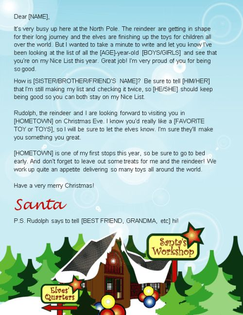 Letter From Santa Template Word Where to Send Your Kidsu0027 Letters - microsoft word santa letter template