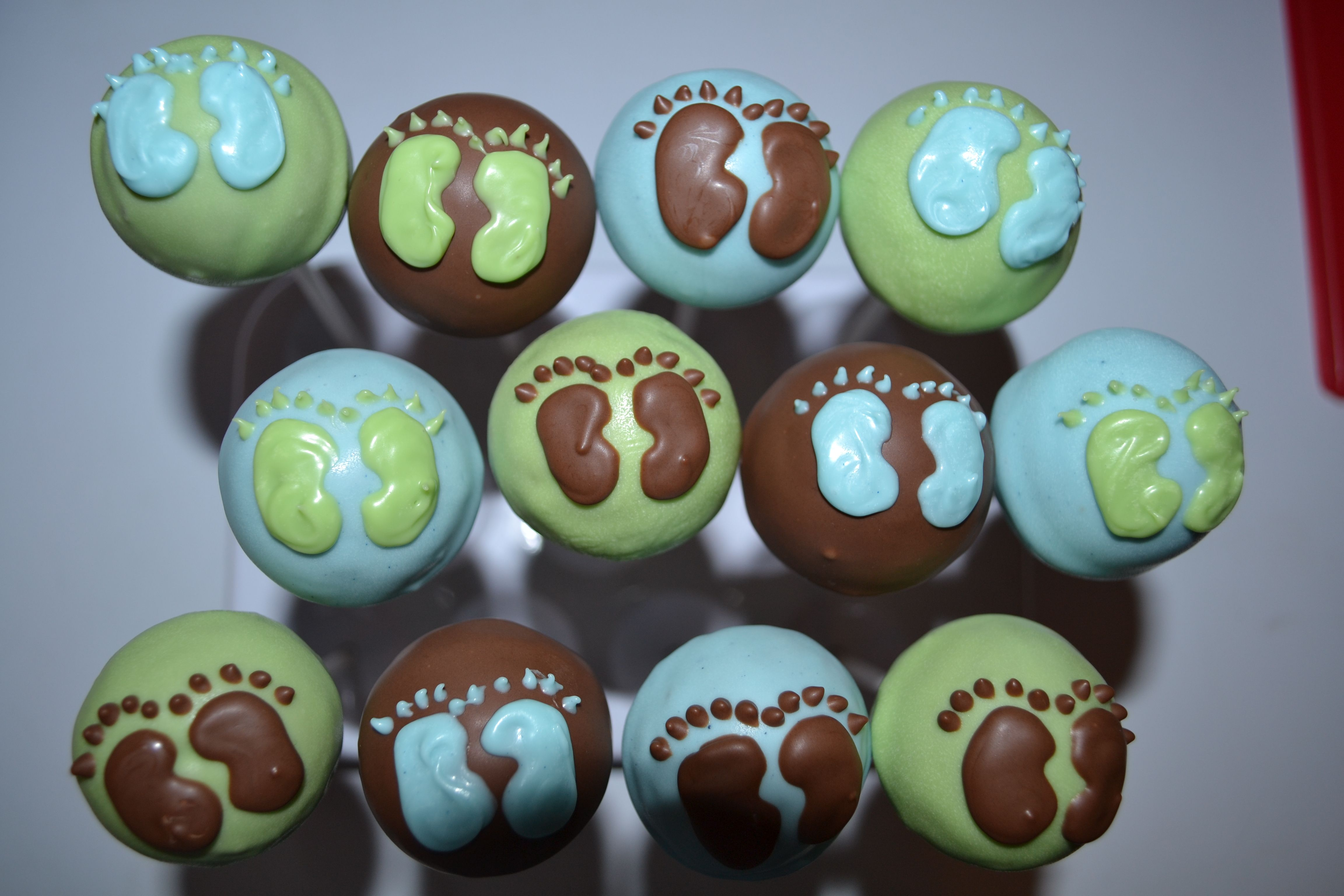 Blue, Green, Brown Baby Feet Cake Pops