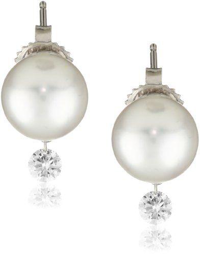 TARA Pearls %22Dancing Diamond%22 White South Sea Stud 10X11mm 18 Karat White Gold Stud Earrings