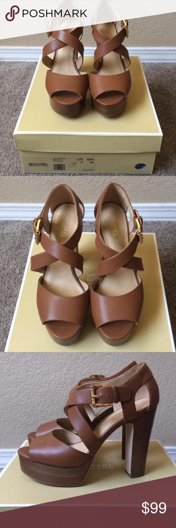 ee8a99eb84 Michael Kors Jodi Sandal Michael Kors Jodi leather Platform Sandal in  luggage. Worn only 2