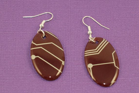 Crystal Circuit Earrings Maroon Oval by DownRightEpic on Etsy, $14.00
