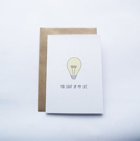 You Light Up My Life Card For Anniversary Pun Love Card Etsy Funny Valentines Cards Love Cards Valentine Cards Handmade