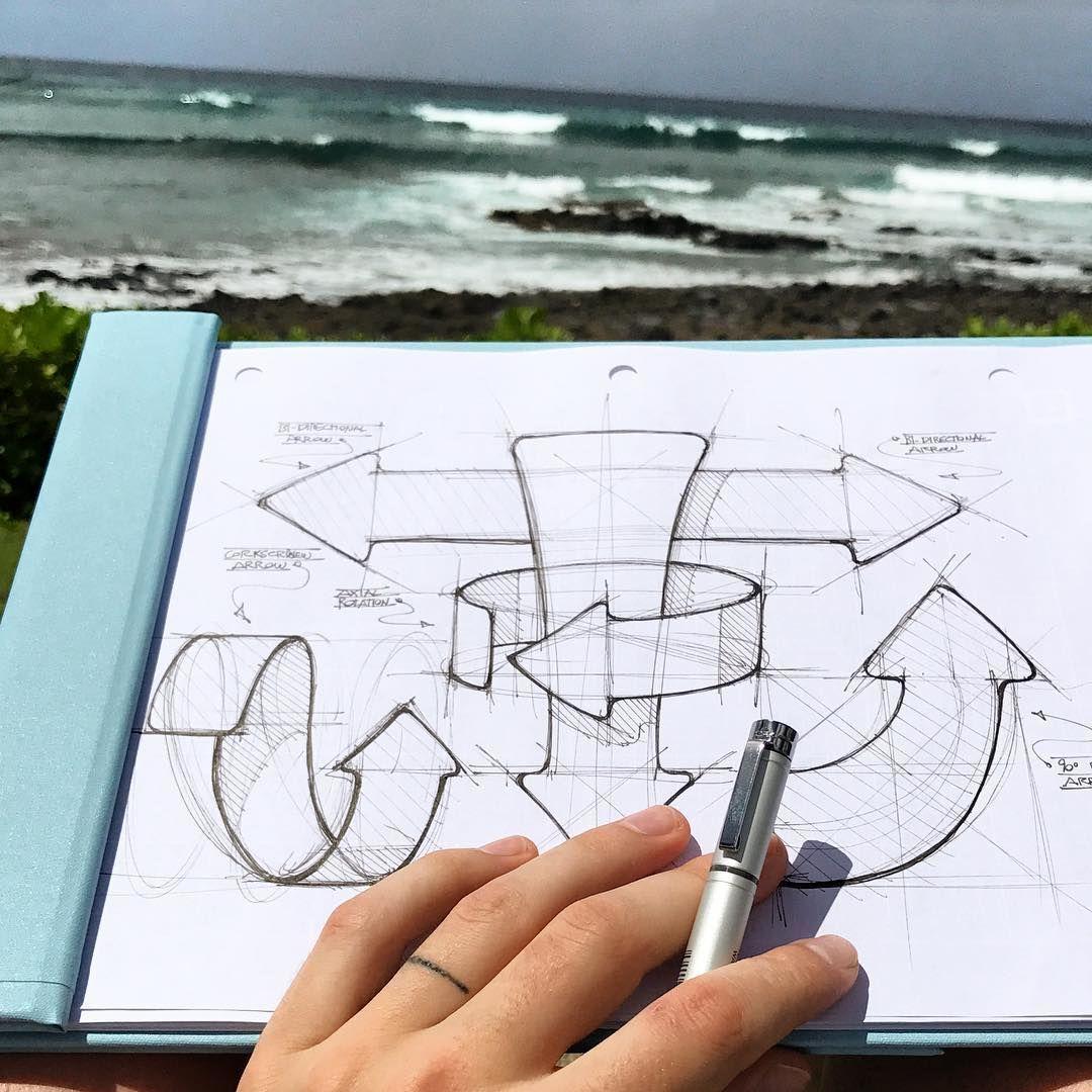 #industrialdesign Industrial design sketch of explanatory arrows.