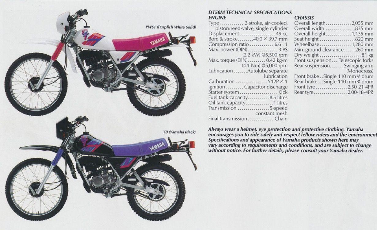 Yamaha DT 50 MX bromfiets informatie specificaties