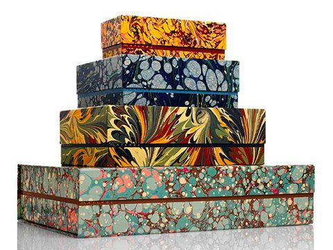 Marbleized boxes