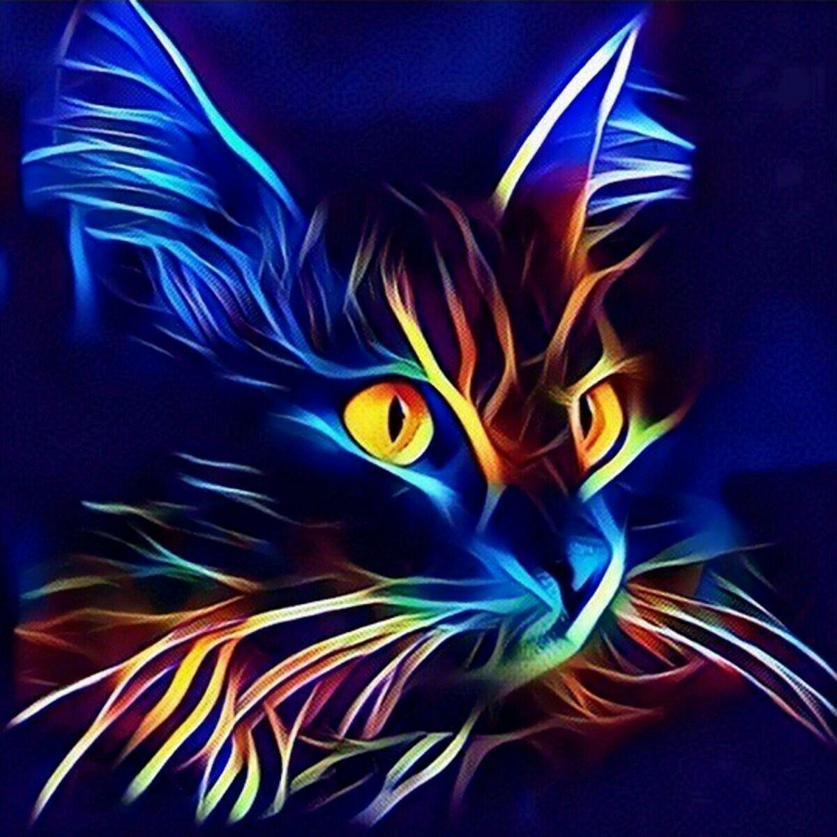 Epingle Par Maca Escalada Sur Gatos En 2020 Peinture De Chat Animaux Abstraits Peinture Chat