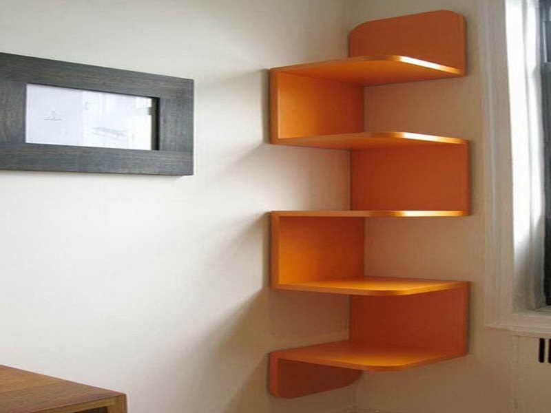 diy unique vibrant orange decorative corner wall shelving units design ideas decoration qdlake