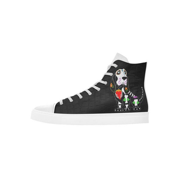 Basset Hound Sugar Skull Black Andromeda High Top Action Leather... (920 ZAR) ❤ liked on Polyvore featuring shoes