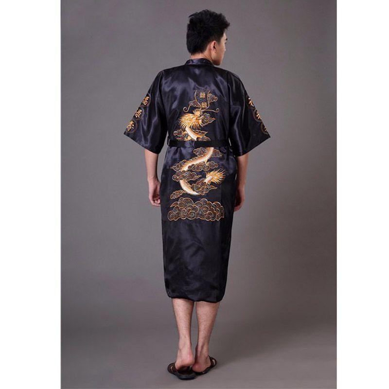 5c1b977e7d High Quality Black Men s Kimono Bath Gown Chinese Style Satin Robe  Embroidery Dragon Sleepwear Pijamas Plus