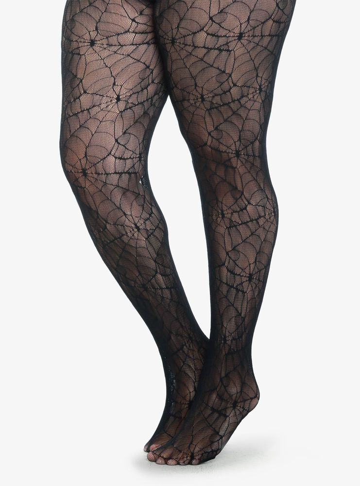 ALL OVER HALLOWEEN WITCH GOTH BLACK FISHNET TIGHTS WITH COBWEB PATTERN