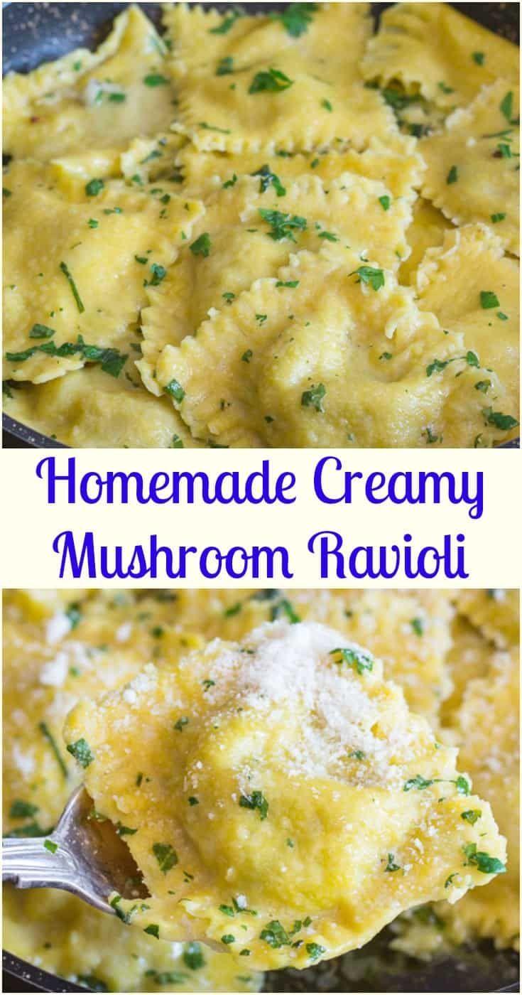 Homemade Creamy Mushroom Ravioli, ein hausgemachtes Eiernudelrezept, das mit ...   - Order up -