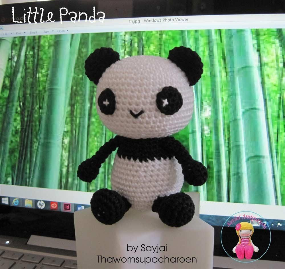 In the kitchen I have a set to make little Sushi pandas from seaweed and rice. They inspired me to make this little Panda.Materials:DMC Petra No.3 colors: black = 11 g and white = 15 g3 mm crochet hookTapestry needlePolyester fiberfill 25 gPins