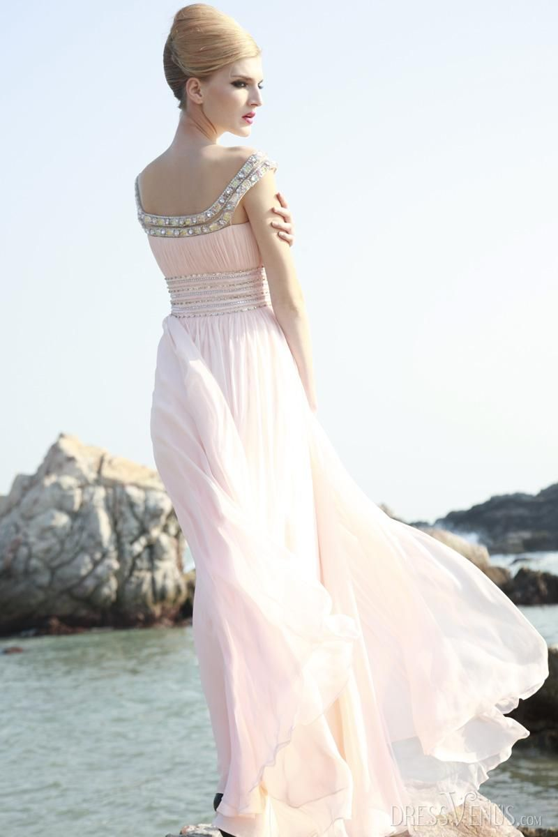 Elegant aline offtheshoulder floorlength empire waistline prom