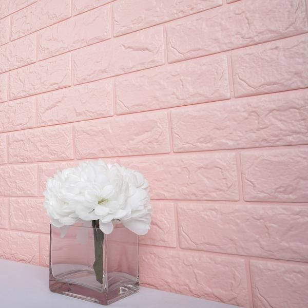 Pack Of 10 58 Sq Ft Blush Pink Peel And Stick 3d Foam Brick Wall Tile Pink Feature Wall Faux Brick Walls Brick Texture