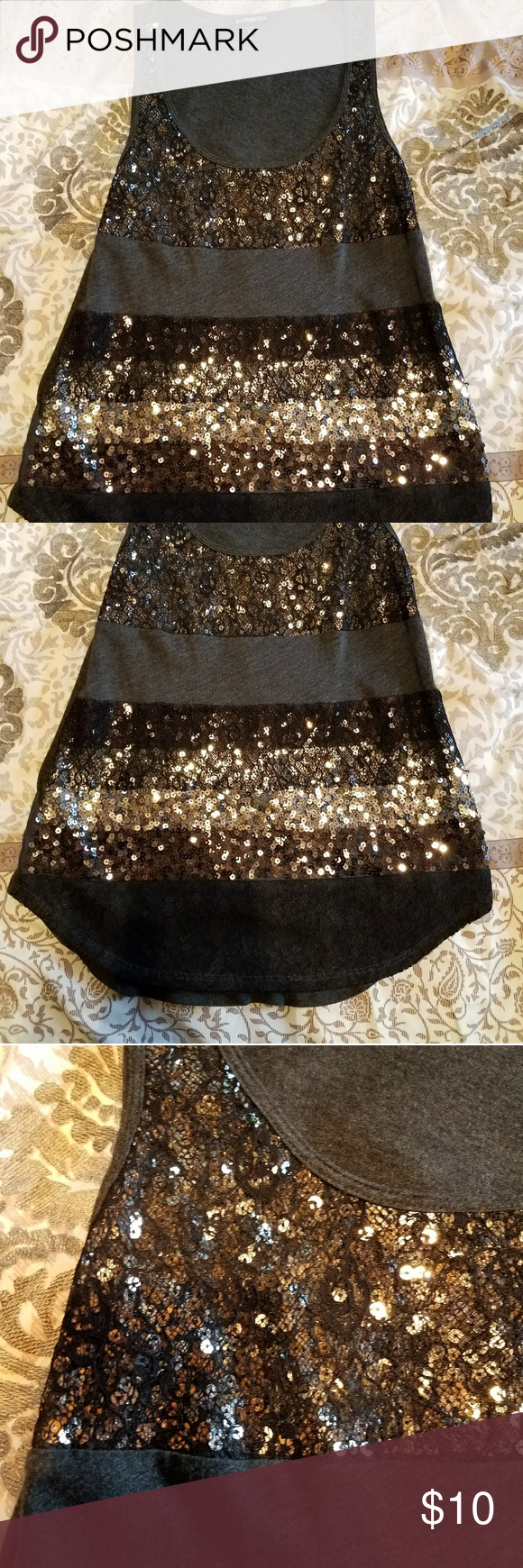 Express tank top EUC, worn twice under a black cardigan. Beautiful detail, lace and sequins. Express Tops Tank Tops