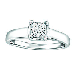 Solitaire 14k Gold And Diamond Ring Fire Ice Canadian Diamonds