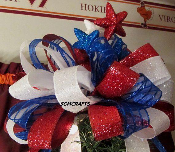 Patriotic Christmas Tree Topper Wired Ribbon Bow Americana Tree