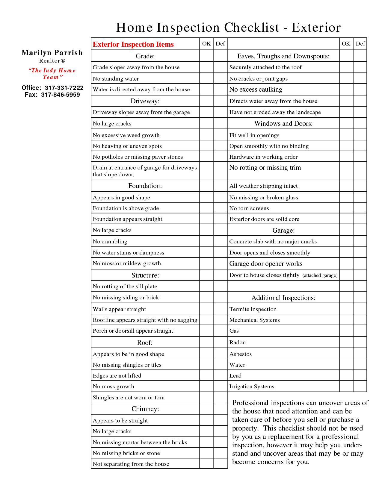 Home Inspection List Template