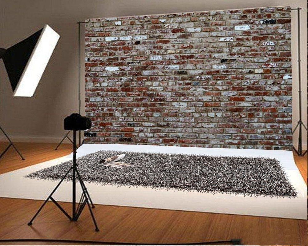 10x6.5ft Microfiber Soft Fabric Retro Color Graffiti Brick Wall Photography Backdrops Brick Floor Photo Backgrounds for Photoshoot