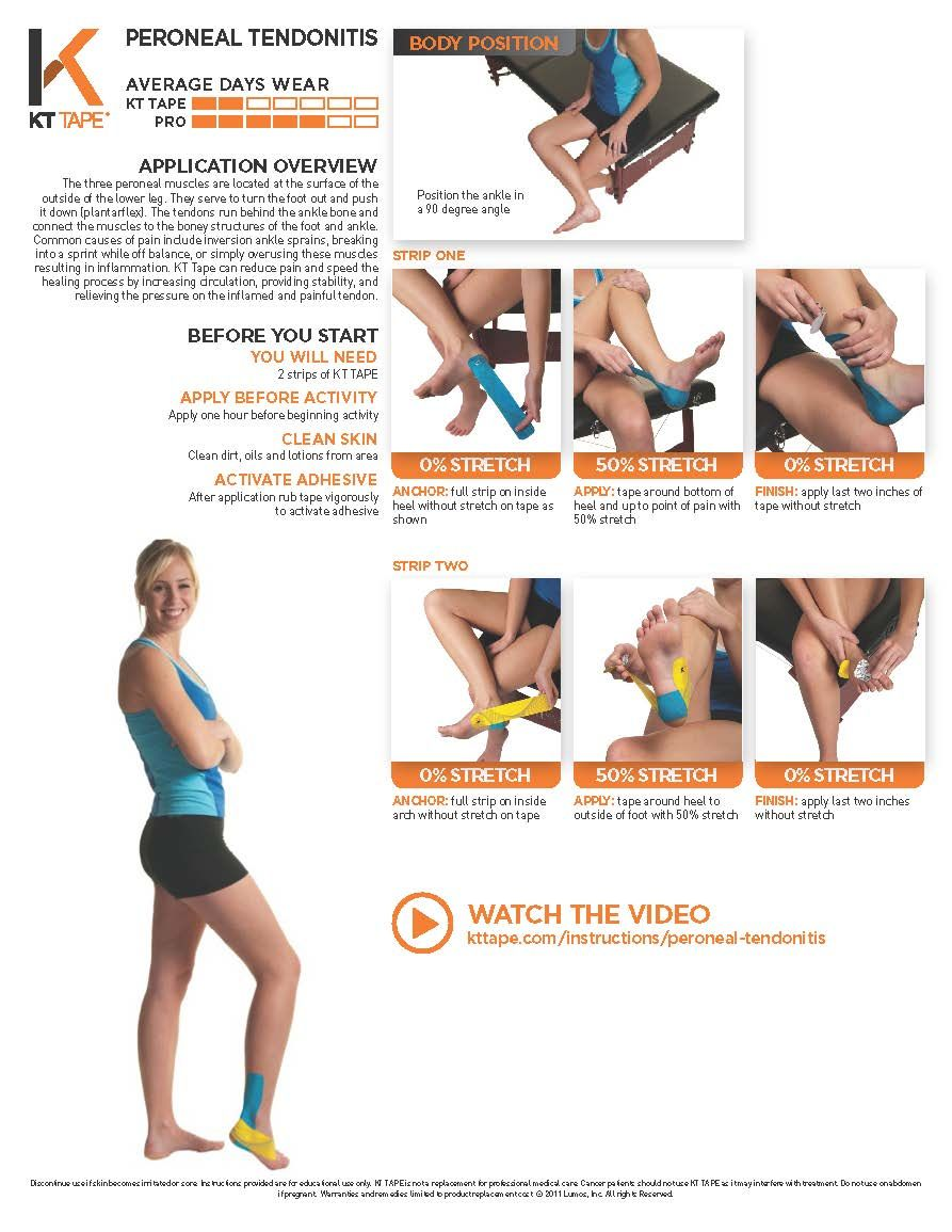 091f466843 Printable Taping Instructions | Health | Peroneal tendonitis ...