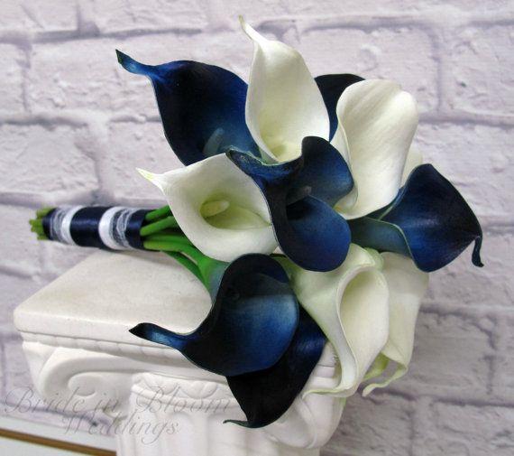 Calla Lily Wedding Bouquet Navy Blue White Real Touch Bridesmaid Bouquet Blue Wedding Bouquet Calla Lily Wedding Lily Bouquet Wedding