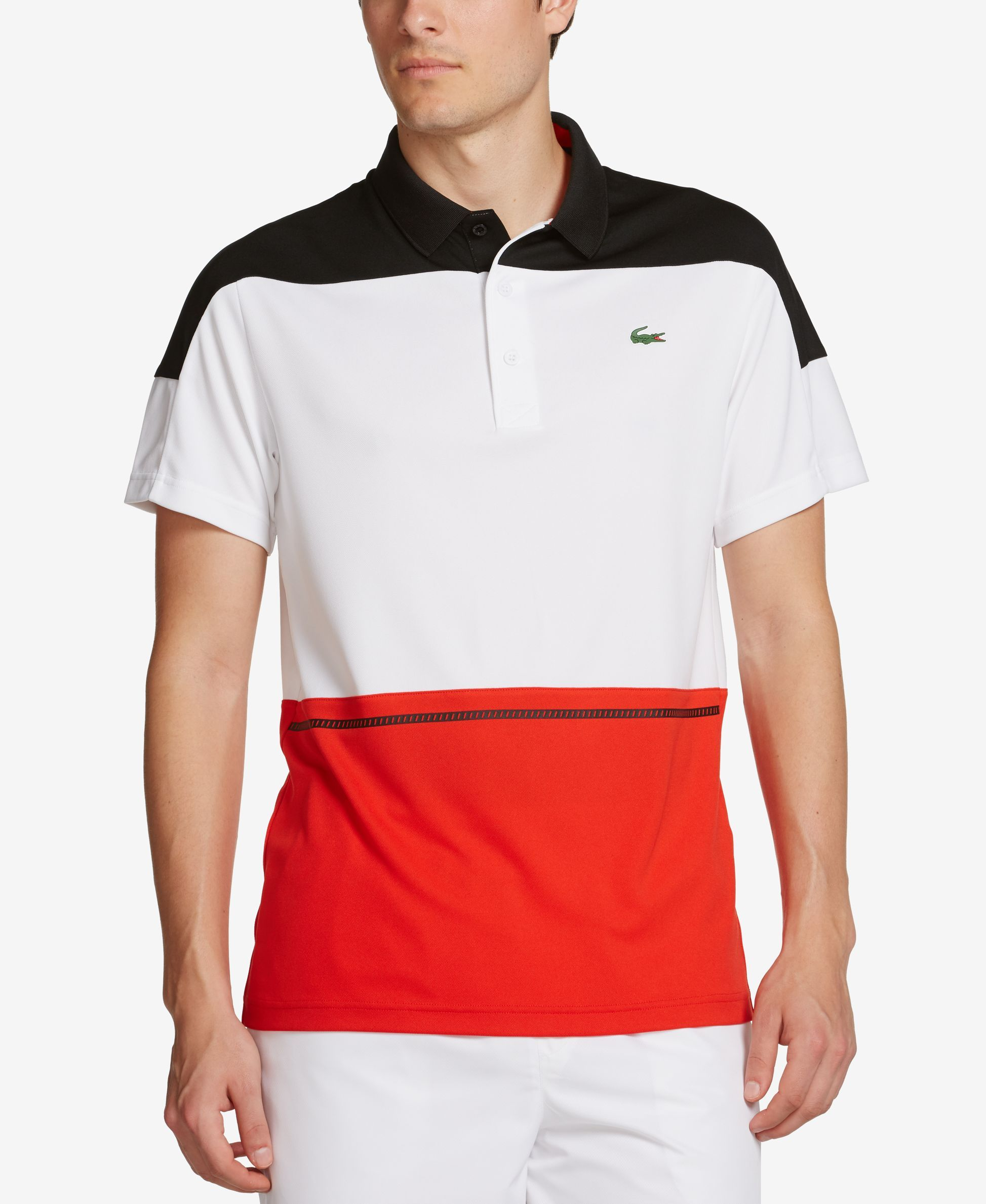 0de1b2cb62 Lacoste Men's Sport Colorblocked Performance Polo Shirt. Constructed in a  pique ...