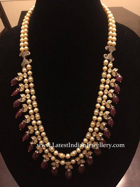 ce4b53e256df9 Ruby Drops Pearl Mala | Indian gold jewellery | Jewelry, Pearl ...