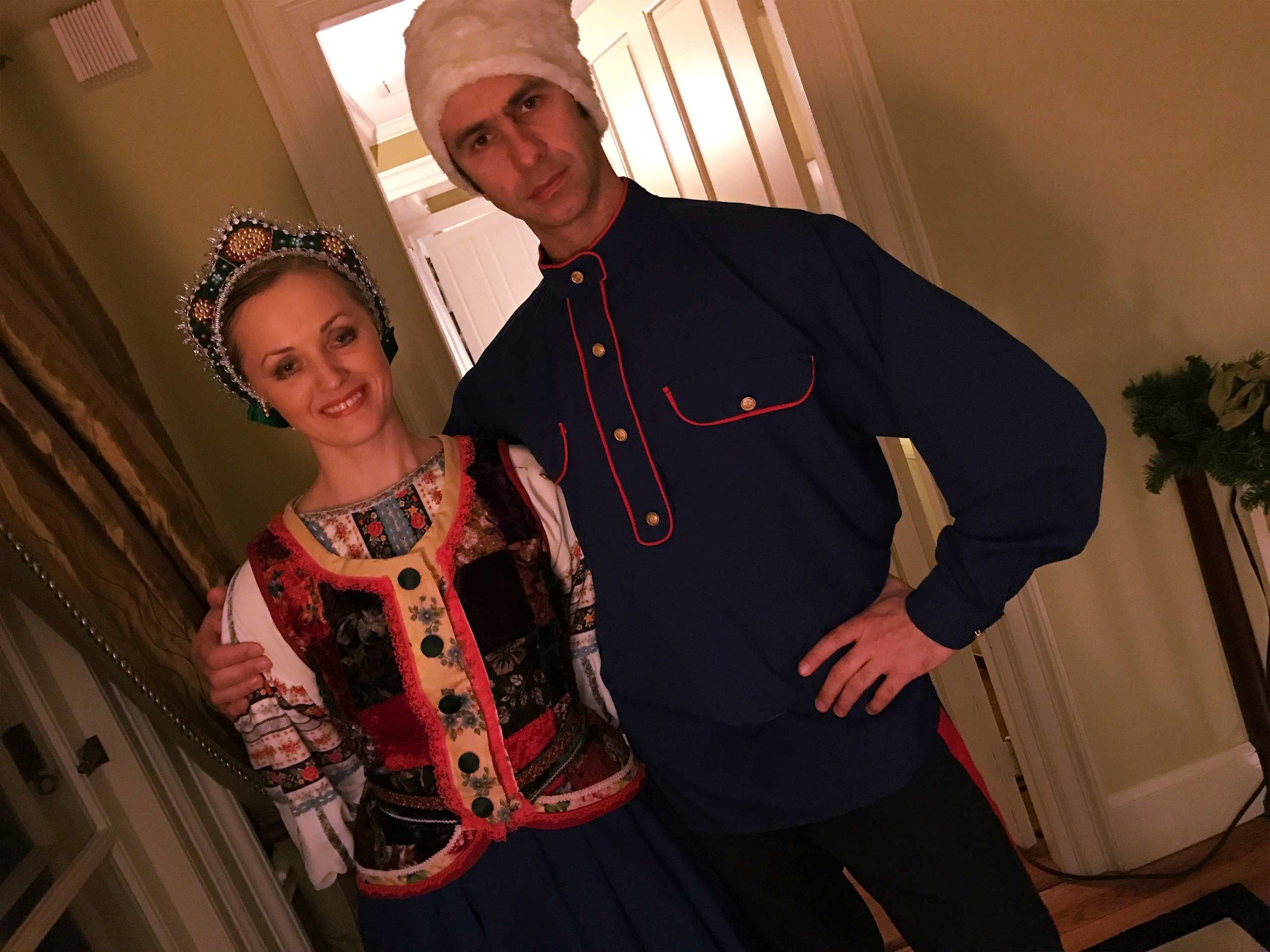 Russian Cosack dancers at New Years Eve party in Boston