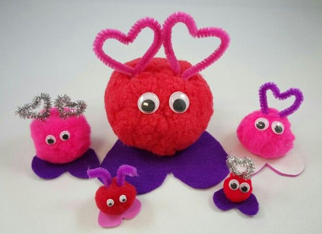Adorable pom pom valentine monsters just use pom poms for Cute pom pom crafts
